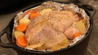 薪ストーブ×ダッチオーブンで丸鶏のローストチキン(備忘録)後編