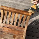 オスモカラー外装用でウッドデッキの家具を塗装2回目